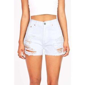 Signature8 White High Waist Denim Shorts NWOT